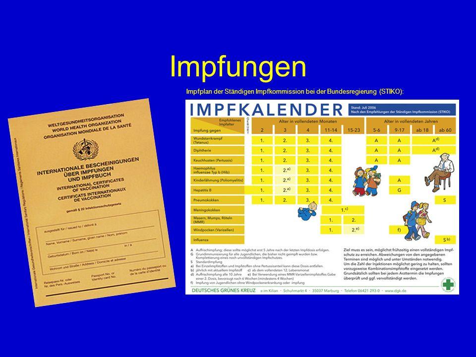 Impfungen Impfplan der Ständigen Impfkommission bei der Bundesregierung (STIKO): 5 5