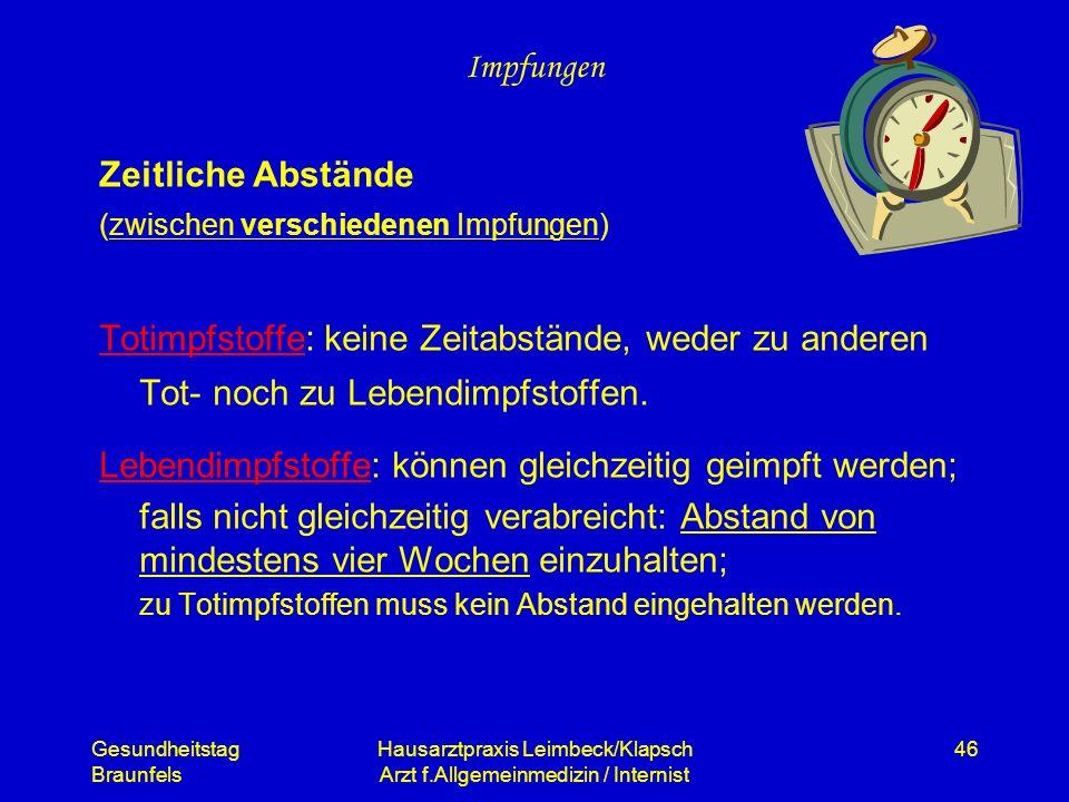 Gesundheitstag Braunfels Hausarztpraxis Leimbeck/Klapsch Arzt f.Allgemeinmedizin / Internist 46 Impfungen Zeitliche Abstände (zwischen verschiedenen I