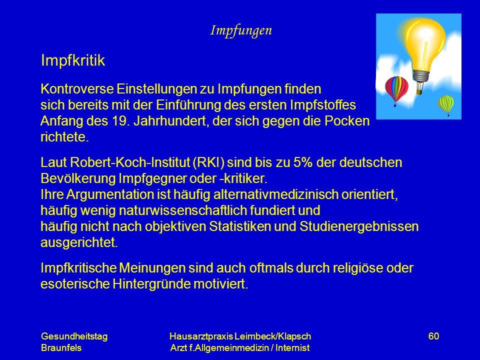 Gesundheitstag Braunfels Hausarztpraxis Leimbeck/Klapsch Arzt f.Allgemeinmedizin / Internist 60 Impfungen Kontroverse Einstellungen zu Impfungen finde