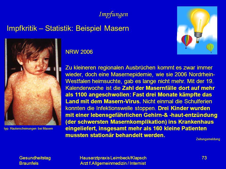 Gesundheitstag Braunfels Hausarztpraxis Leimbeck/Klapsch Arzt f.Allgemeinmedizin / Internist 73 Impfungen Impfkritik – Statistik: Beispiel Masern typ.