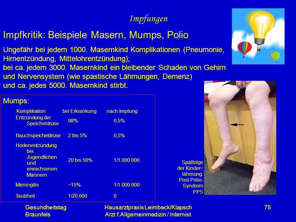 Gesundheitstag Braunfels Hausarztpraxis Leimbeck/Klapsch Arzt f.Allgemeinmedizin / Internist 75 Impfungen Impfkritik: Beispiele Masern, Mumps, Polio U