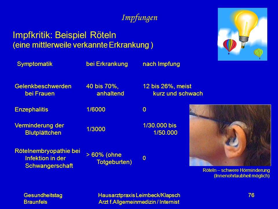Gesundheitstag Braunfels Hausarztpraxis Leimbeck/Klapsch Arzt f.Allgemeinmedizin / Internist 76 Impfungen Impfkritik: Beispiel Röteln (eine mittlerwei