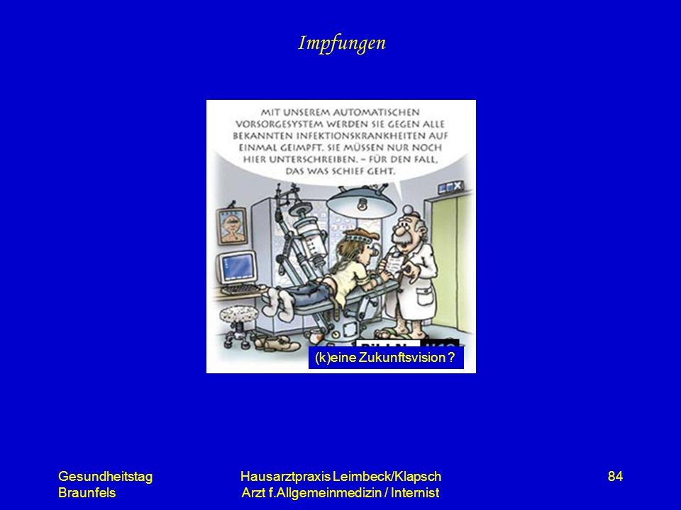 Gesundheitstag Braunfels Hausarztpraxis Leimbeck/Klapsch Arzt f.Allgemeinmedizin / Internist 84 Impfungen (k)eine Zukunftsvision ?