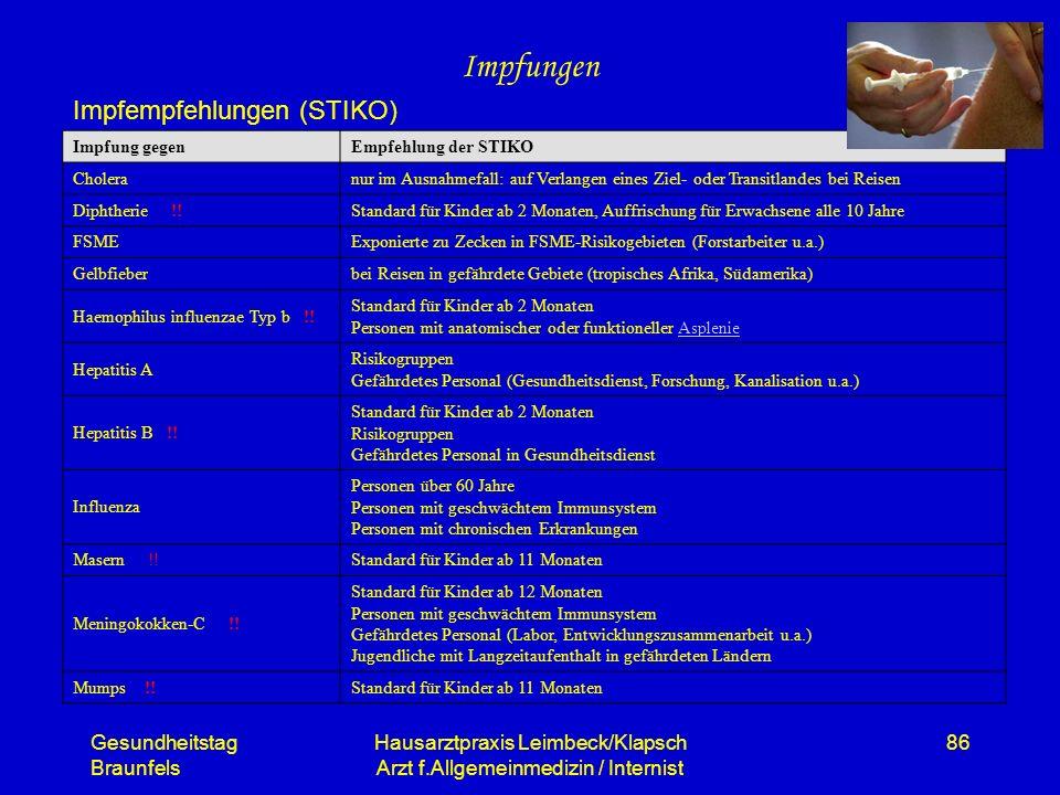 Gesundheitstag Braunfels Hausarztpraxis Leimbeck/Klapsch Arzt f.Allgemeinmedizin / Internist 86 Impfungen Impfempfehlungen (STIKO) Impfung gegenEmpfeh