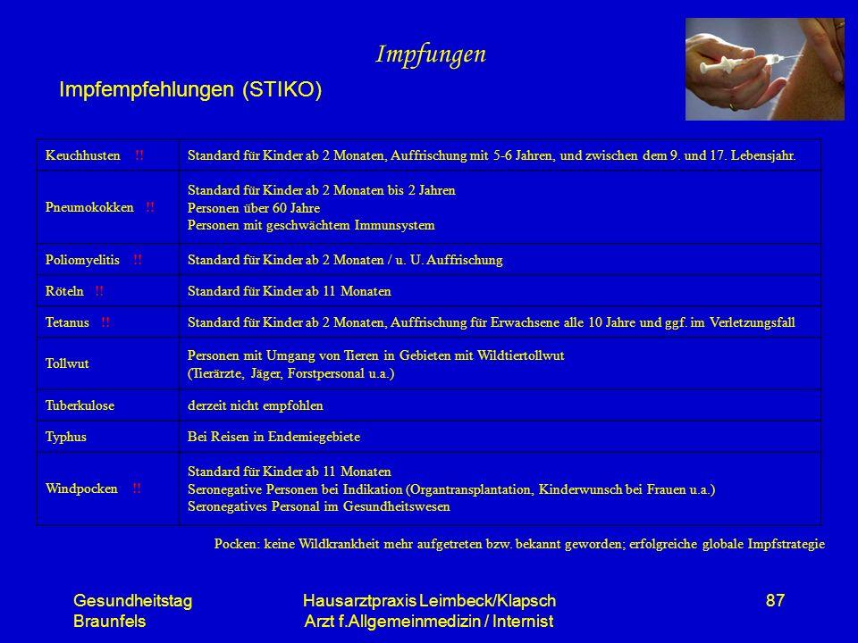 Gesundheitstag Braunfels Hausarztpraxis Leimbeck/Klapsch Arzt f.Allgemeinmedizin / Internist 87 Impfungen Impfempfehlungen (STIKO) Keuchhusten !!Stand