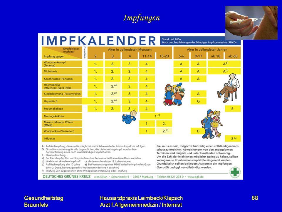 Gesundheitstag Braunfels Hausarztpraxis Leimbeck/Klapsch Arzt f.Allgemeinmedizin / Internist 88 Impfungen