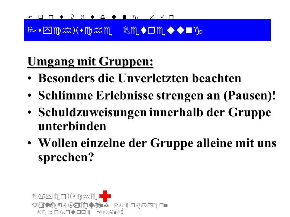Bezirksverband Oberbayern Lehrgruppe EH/SAN F o r t b i l d u n g f ü r d i e A u s b i l d e r S A N Bayerisches Rotes Kreuz Psychische Betreuung Umgang mit Gruppen: Besonders die Unverletzten beachten Schlimme Erlebnisse strengen an (Pausen).
