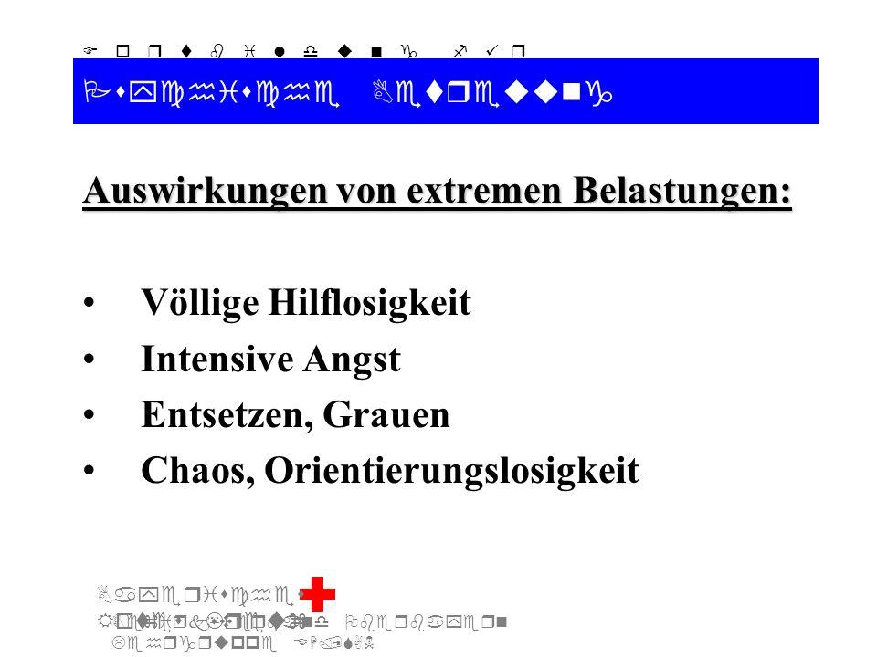 Bezirksverband Oberbayern Lehrgruppe EH/SAN F o r t b i l d u n g f ü r d i e A u s b i l d e r S A N Bayerisches Rotes Kreuz Psychische Betreuung Umgang mit psychisch Kranken (2): Nicht mit Vernunft argumentieren Vermeiden von Streitgesprächen Ruhiges, gezieltes Führen des Patienten Den Kranken ernst nehmen Sich nicht lustig machen Den Wahn nicht ausreden Wahnvorstellungen geduldig anhören Das Wahnerleben ruhen lassen