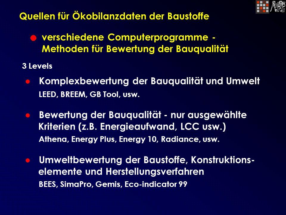 Quellen für Ökobilanzdaten der Baustoffe verschiedene Computerprogramme - Methoden für Bewertung der Bauqualität Komplexbewertung der Bauqualität und Umwelt LEED, BREEM, GB Tool, usw.
