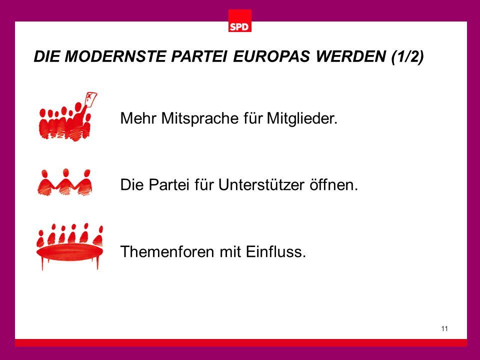 11 DIE MODERNSTE PARTEI EUROPAS WERDEN (1/2) Mehr Mitsprache für Mitglieder. Die Partei für Unterstützer öffnen. Themenforen mit Einfluss.