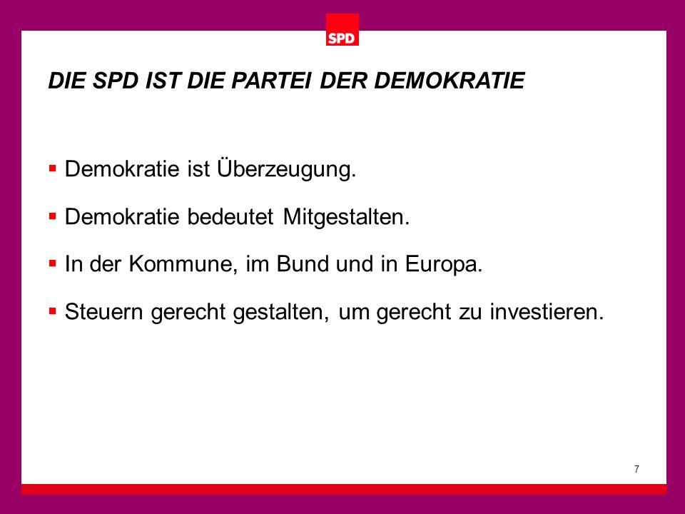 Demokratie ist Überzeugung. Demokratie bedeutet Mitgestalten. In der Kommune, im Bund und in Europa. Steuern gerecht gestalten, um gerecht zu investie