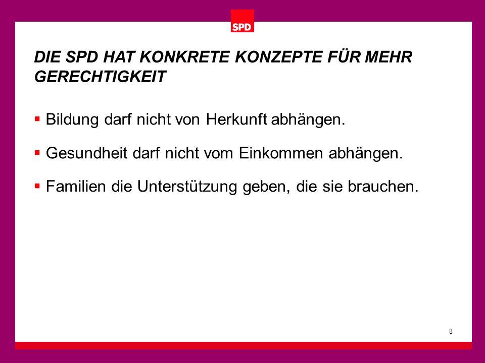 Bildung darf nicht von Herkunft abhängen. Gesundheit darf nicht vom Einkommen abhängen. Familien die Unterstützung geben, die sie brauchen. 8 DIE SPD