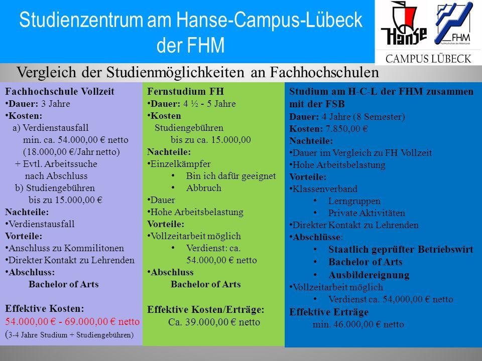 Studienzentrum am Hanse-Campus-Lübeck der FHM Vergleich der Studienmöglichkeiten an Fachhochschulen Fachhochschule Vollzeit Dauer: 3 Jahre Kosten: a)