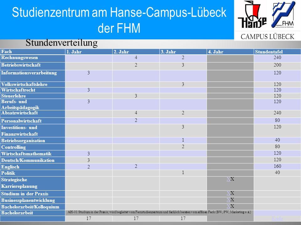 Studienzentrum am Hanse-Campus-Lübeck der FHM Fach 1. Jahr2. Jahr3. Jahr4. JahrStundentafel Rechnungswesen42240 Betriebswirtschaft 23200 Informationsv