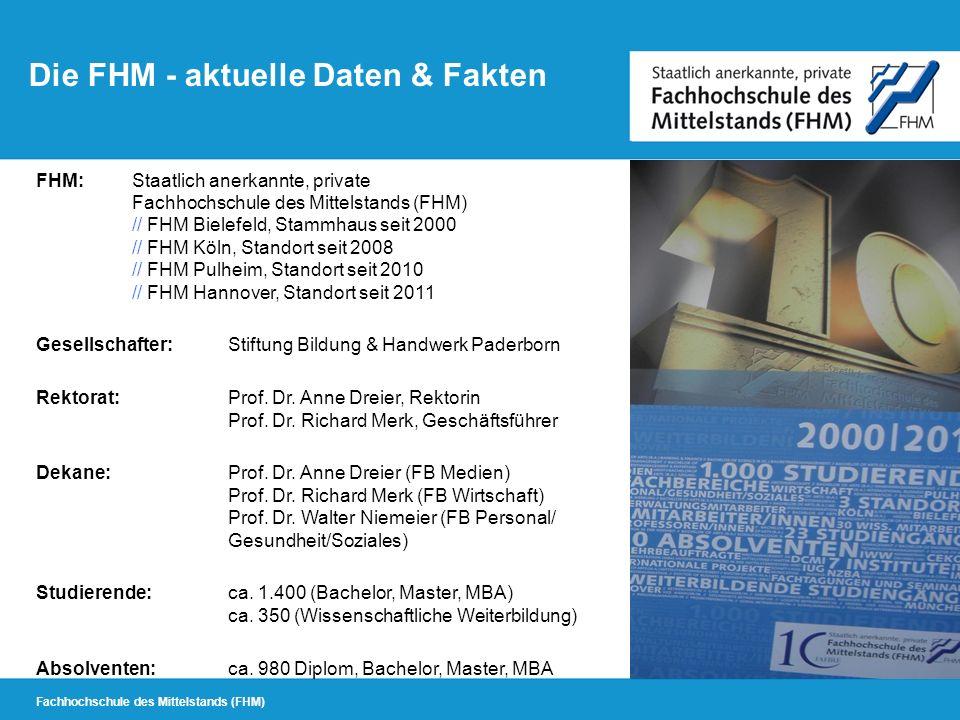 Fachhochschule des Mittelstands (FHM) Die FHM - aktuelle Daten & Fakten FHM:Staatlich anerkannte, private Fachhochschule des Mittelstands (FHM) // FHM