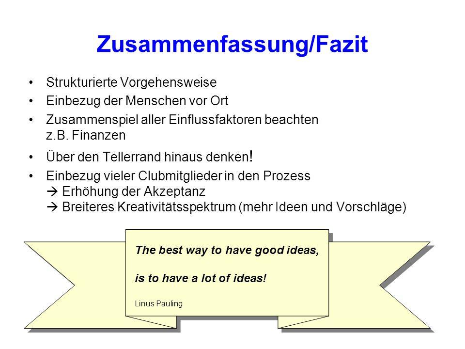 Zusammenfassung/Fazit Strukturierte Vorgehensweise Einbezug der Menschen vor Ort Zusammenspiel aller Einflussfaktoren beachten z.B.