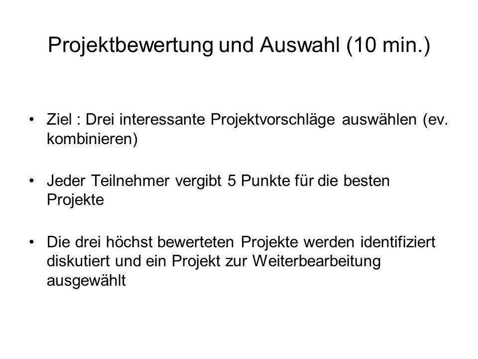Diskussionsgrundlage für Projekt ( 10 min.) Projekttitel ……………………… Projektbeschreibung …..…..