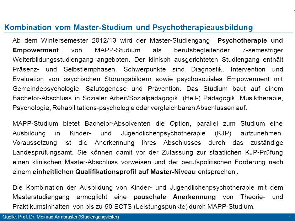 2 Kombination KJP-Ausbildung und Master-Studium Berufspolitische und fachliche Anforderungen erfüllt für den Übergangszeitraum bis zur Novellierung des Psychotherapeutengesetzes: Master-Abschluss vor staatlicher KJP-Prüfung 2 Abschlüsse in ca.