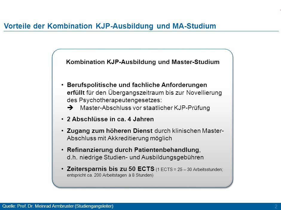 2 Kombination KJP-Ausbildung und Master-Studium Berufspolitische und fachliche Anforderungen erfüllt für den Übergangszeitraum bis zur Novellierung de