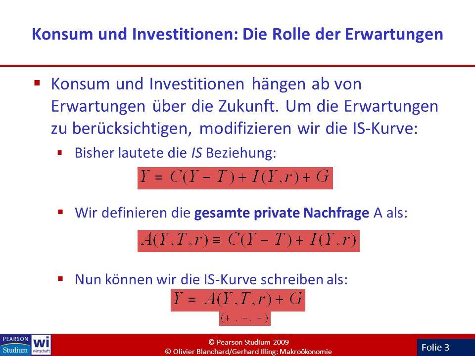 Folie 3 Konsum und Investitionen: Die Rolle der Erwartungen Konsum und Investitionen hängen ab von Erwartungen über die Zukunft. Um die Erwartungen zu