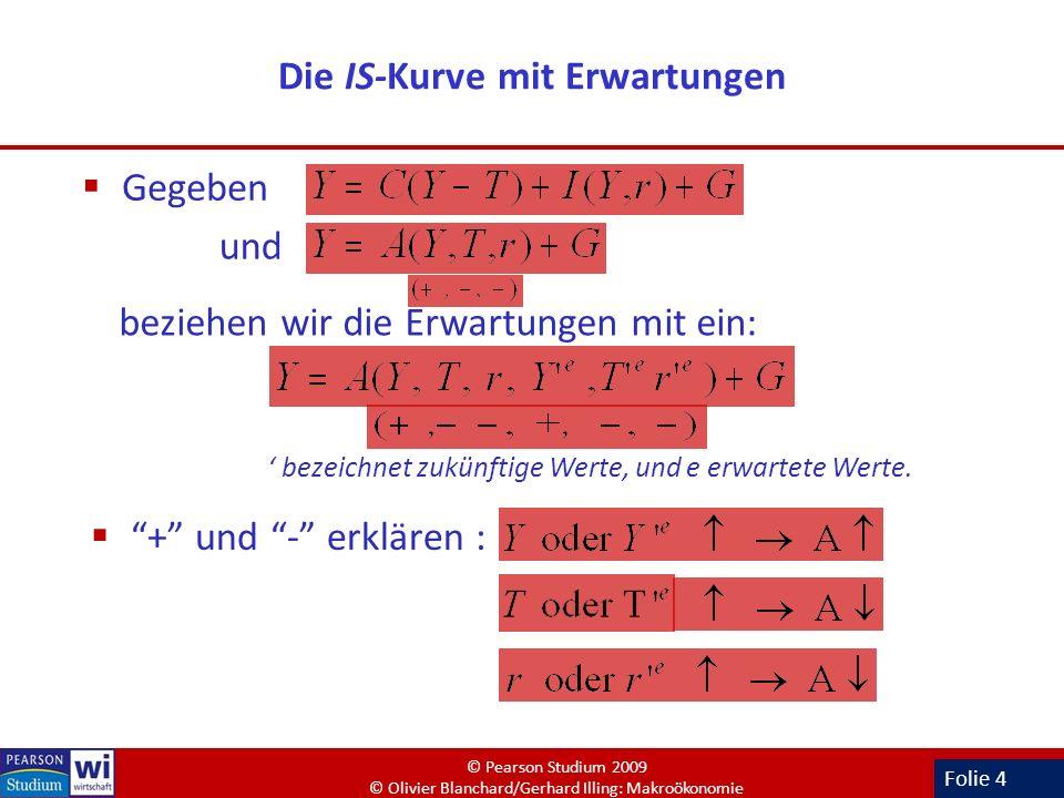Folie 4 Die IS-Kurve mit Erwartungen Gegeben und beziehen wir die Erwartungen mit ein: bezeichnet zukünftige Werte, und e erwartete Werte. + und - erk
