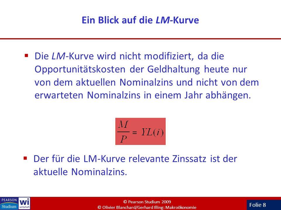 Folie 8 Ein Blick auf die LM-Kurve Die LM-Kurve wird nicht modifiziert, da die Opportunitätskosten der Geldhaltung heute nur von dem aktuellen Nominal