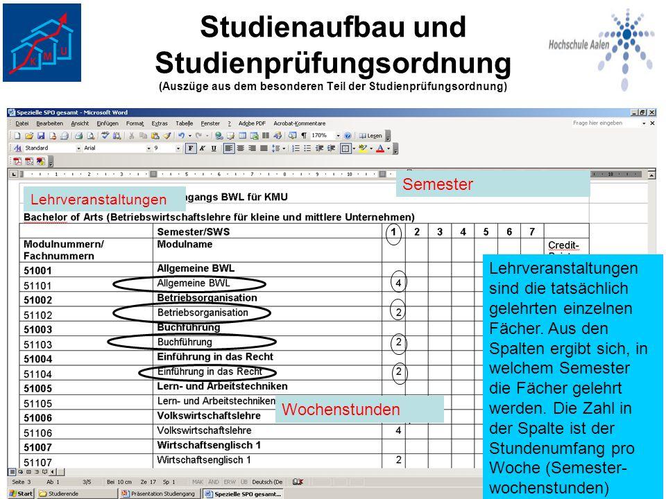 Studienaufbau und Studienprüfungsordnung (Auszüge aus dem besonderen Teil der Studienprüfungsordnung) Lehrveranstaltungen Lehrveranstaltungen sind die