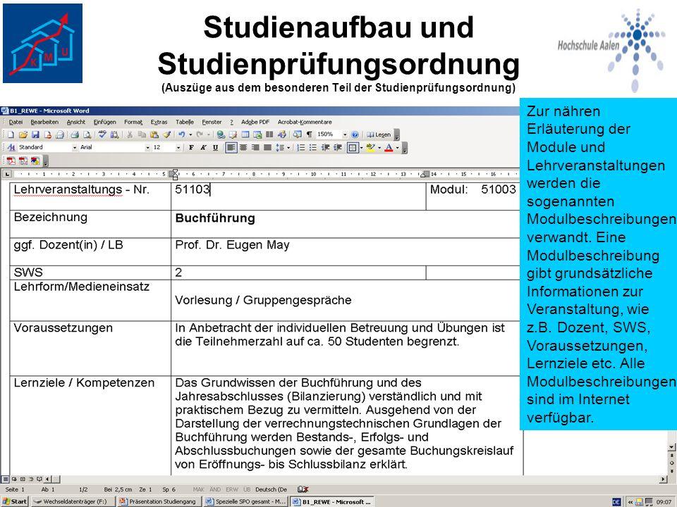 Studienaufbau und Studienprüfungsordnung (Auszüge aus dem besonderen Teil der Studienprüfungsordnung) Zur nähren Erläuterung der Module und Lehrverans