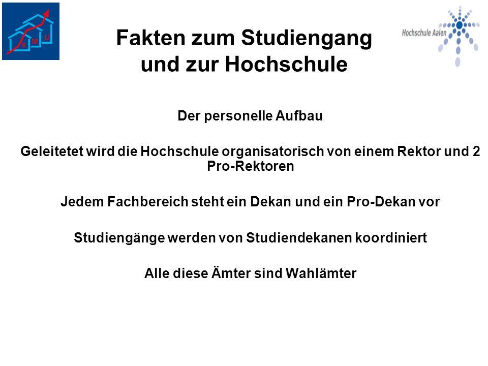 Fakten zum Studiengang und zur Hochschule Das KMU- Kern-Team: Prof.