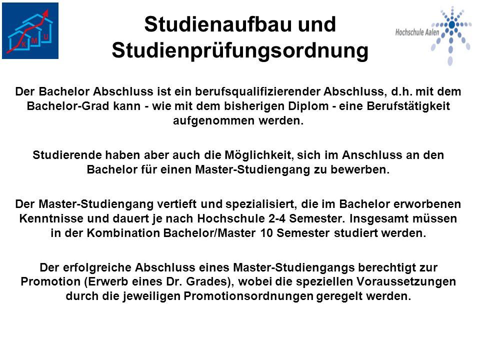 Studienaufbau und Studienprüfungsordnung Der Bachelor Abschluss ist ein berufsqualifizierender Abschluss, d.h. mit dem Bachelor-Grad kann - wie mit de