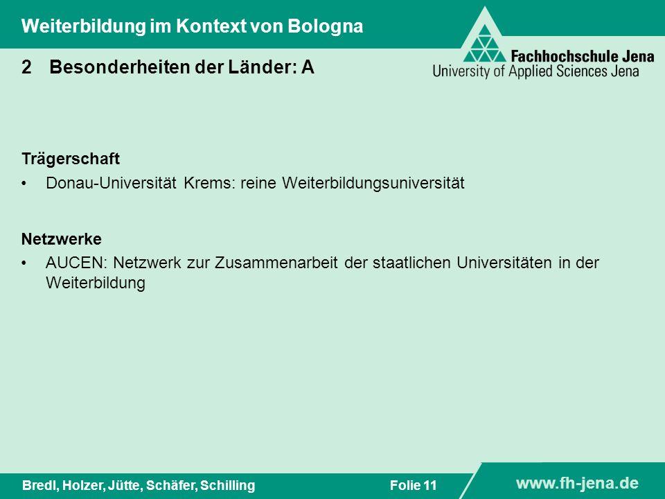 www.fh-jena.de Titel der Präsentation www.fh-jena.de Folie 11Bredl, Holzer, Jütte, Schäfer, Schilling Weiterbildung im Kontext von Bologna 2Besonderhe