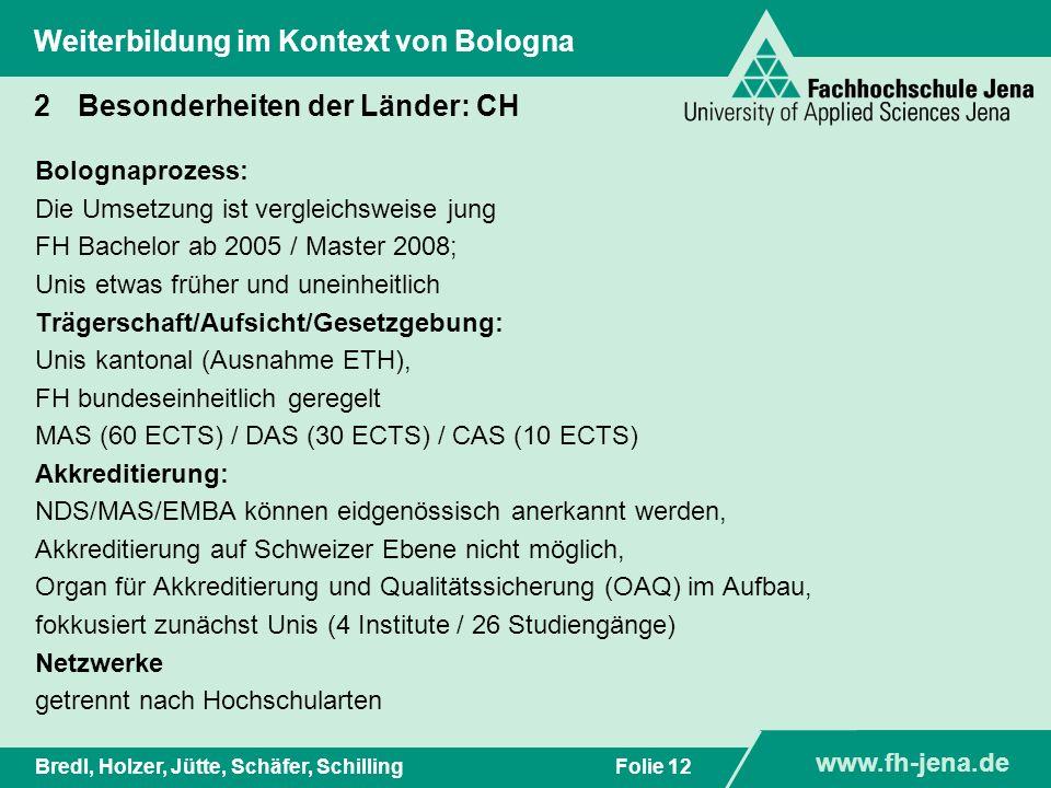 www.fh-jena.de Titel der Präsentation www.fh-jena.de Folie 12Bredl, Holzer, Jütte, Schäfer, Schilling Weiterbildung im Kontext von Bologna 2Besonderhe