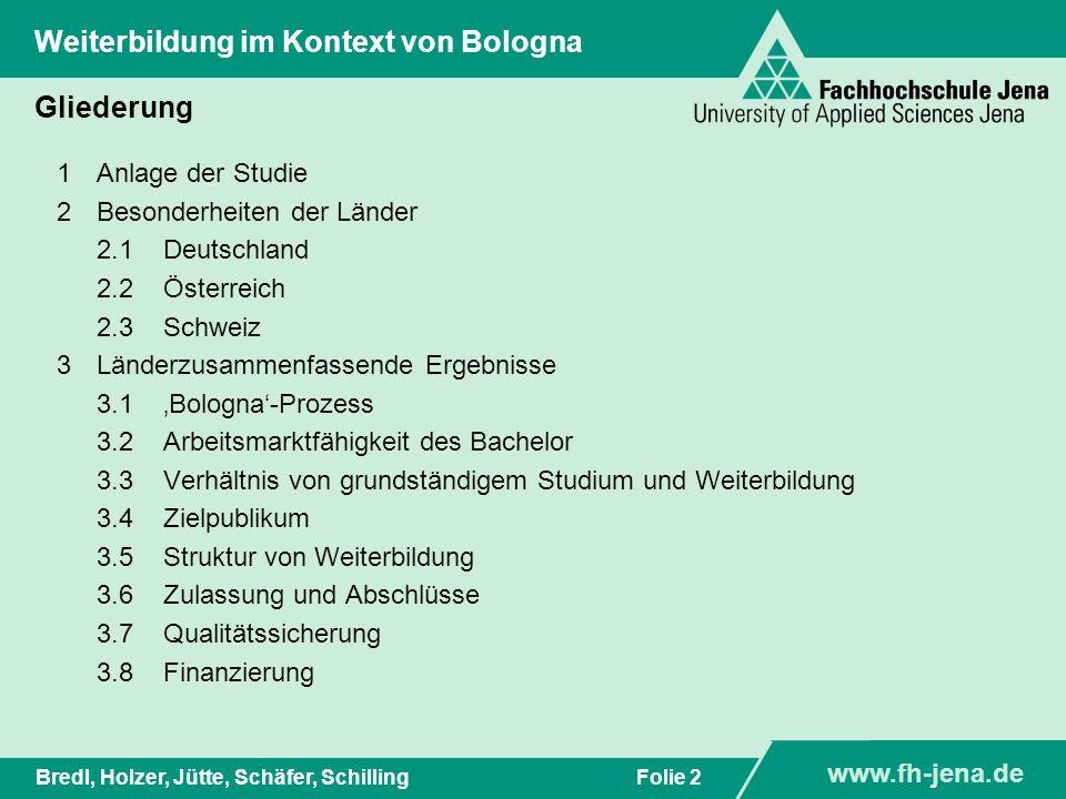 www.fh-jena.de Titel der Präsentation www.fh-jena.de Folie 2Bredl, Holzer, Jütte, Schäfer, Schilling Weiterbildung im Kontext von Bologna Gliederung 1