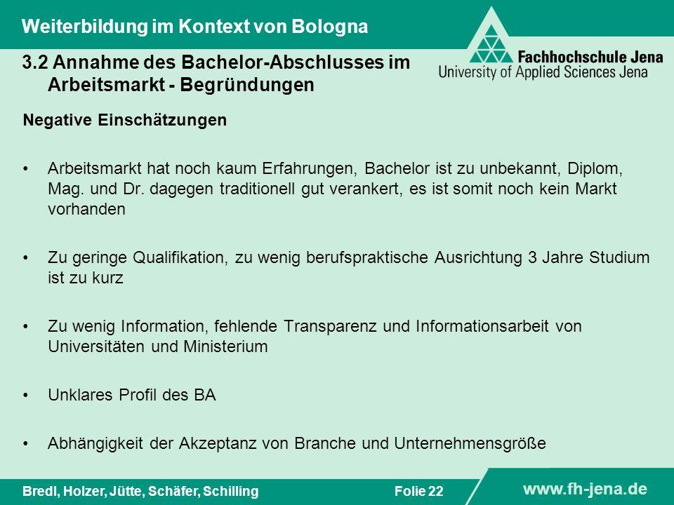 www.fh-jena.de Titel der Präsentation www.fh-jena.de Folie 22Bredl, Holzer, Jütte, Schäfer, Schilling Weiterbildung im Kontext von Bologna 3.2 Annahme