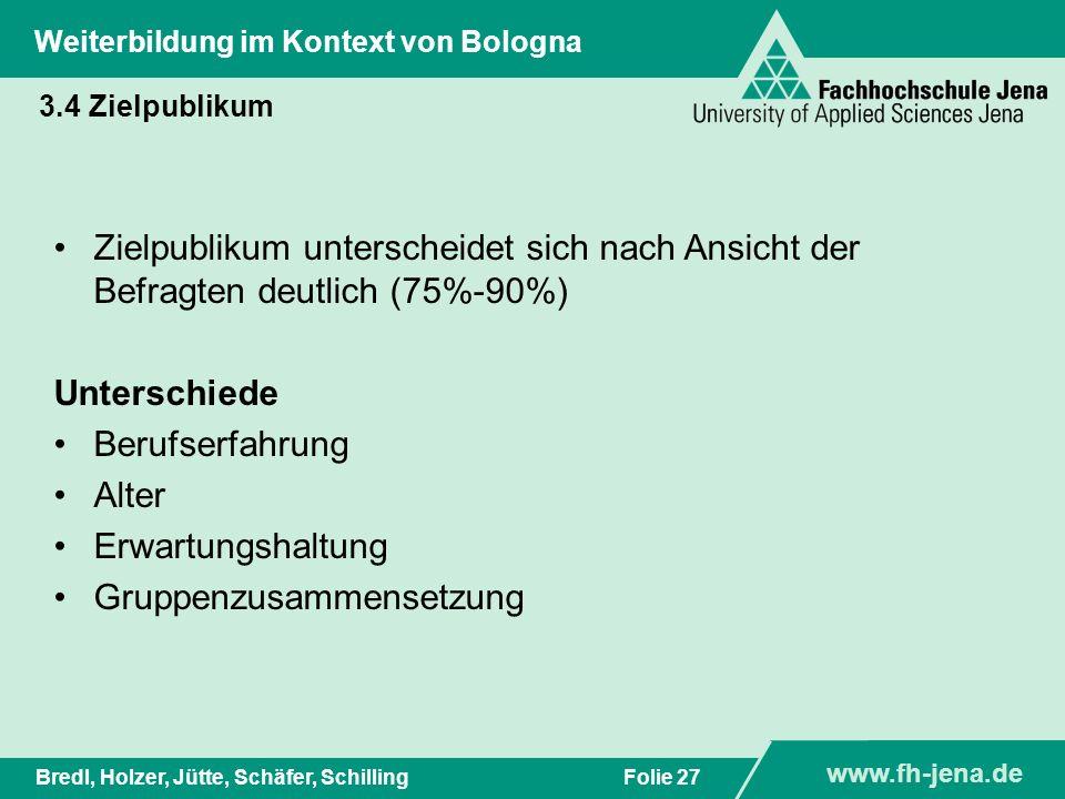 www.fh-jena.de Titel der Präsentation www.fh-jena.de Folie 28Bredl, Holzer, Jütte, Schäfer, Schilling Weiterbildung im Kontext von Bologna 3.4 Zielpublikum: Motive für WB-Master bei hohen Kosten %