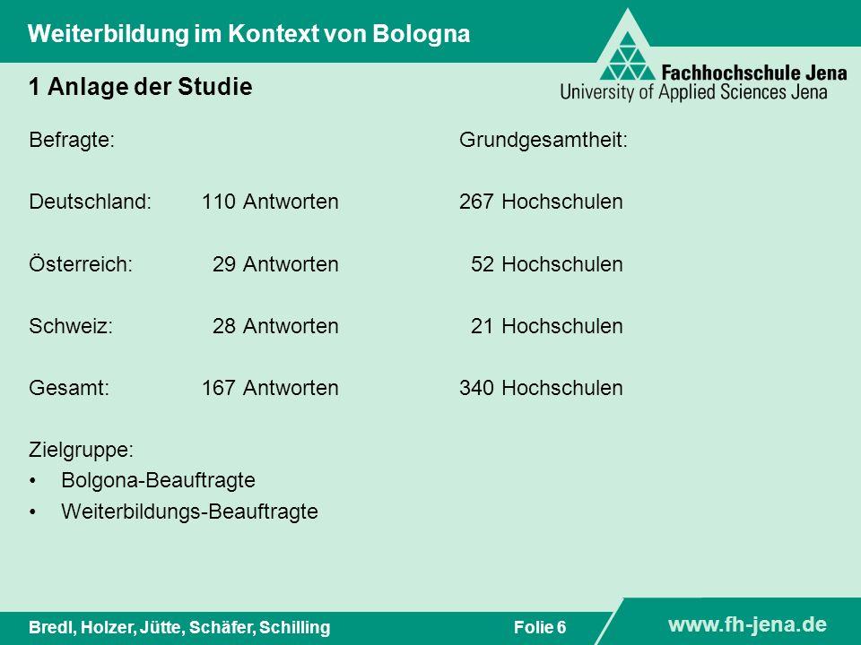 www.fh-jena.de Titel der Präsentation www.fh-jena.de Folie 7Bredl, Holzer, Jütte, Schäfer, Schilling Weiterbildung im Kontext von Bologna 1 Anlage der Studie N