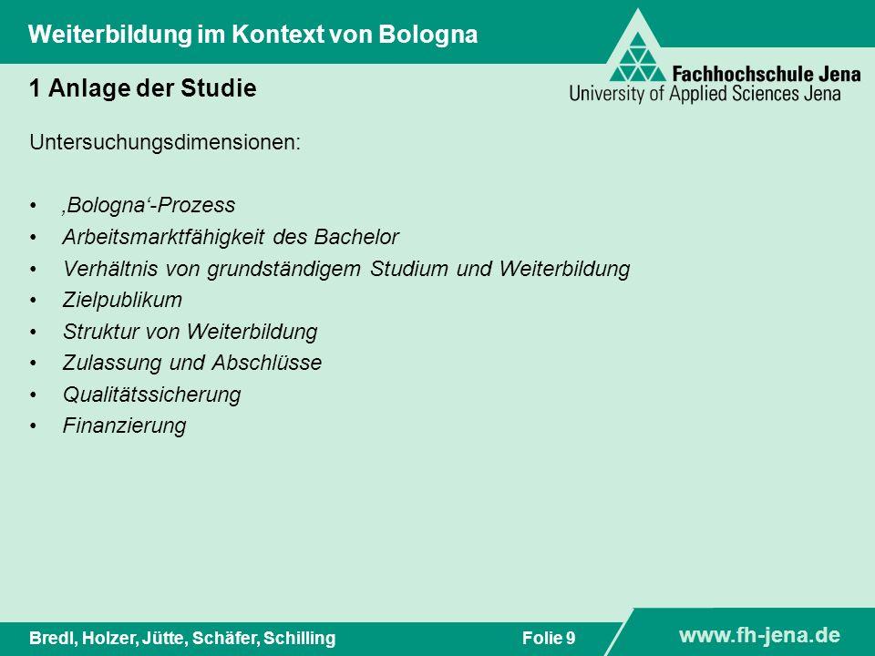 www.fh-jena.de Titel der Präsentation www.fh-jena.de Folie 9Bredl, Holzer, Jütte, Schäfer, Schilling Weiterbildung im Kontext von Bologna 1 Anlage der