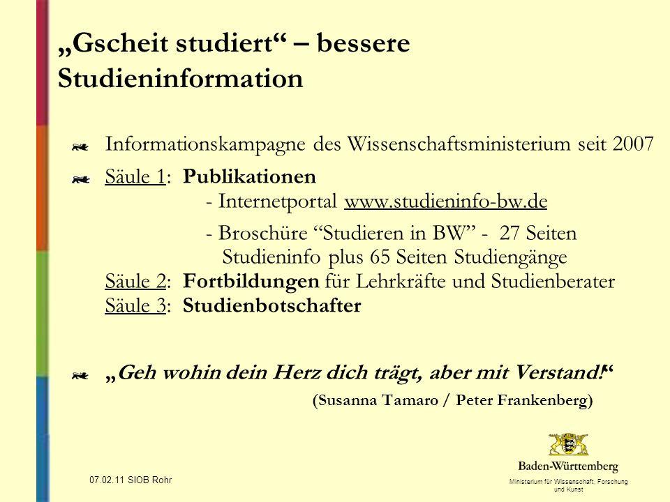 Ministerium für Wissenschaft, Forschung und Kunst 07.02.11 SIOB Rohr Informationskampagne des Wissenschaftsministerium seit 2007 Säule 1: Publikatione