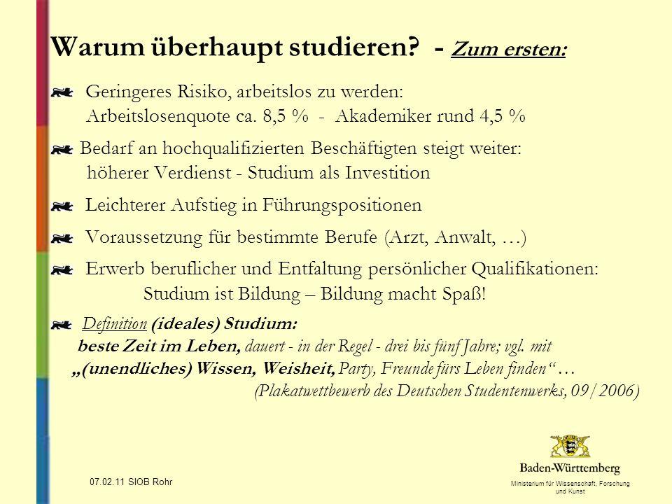 Ministerium für Wissenschaft, Forschung und Kunst Warum studieren.