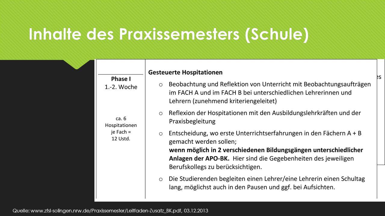 Inhalte des Praxissemesters (Schule) Quelle: www.zfsl-solingen.nrw.de/Praxissemester/Leitfaden-Zusatz_BK.pdf, 03.12.2013 v