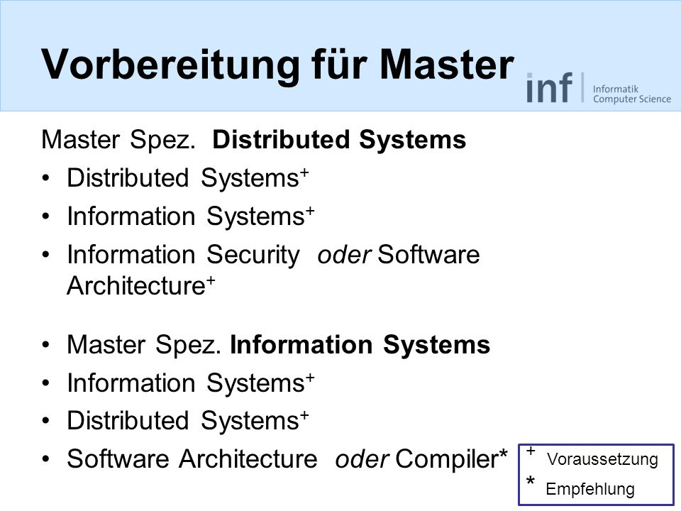 Vorbereitung für Master Master Spez. Distributed Systems Distributed Systems + Information Systems + Information Security oder Software Architecture +