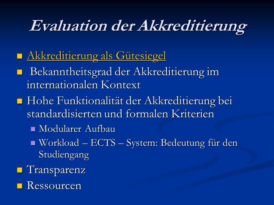 Evaluation der Akkreditierung Akkreditierung als Gütesiegel Akkreditierung als Gütesiegel Akkreditierung als Gütesiegel Akkreditierung als Gütesiegel Bekanntheitsgrad der Akkreditierung im internationalen Kontext Bekanntheitsgrad der Akkreditierung im internationalen Kontext Hohe Funktionalität der Akkreditierung bei standardisierten und formalen Kriterien Hohe Funktionalität der Akkreditierung bei standardisierten und formalen Kriterien Modularer Aufbau Modularer Aufbau Workload – ECTS – System: Bedeutung für den Studiengang Workload – ECTS – System: Bedeutung für den Studiengang Transparenz Transparenz Ressourcen Ressourcen