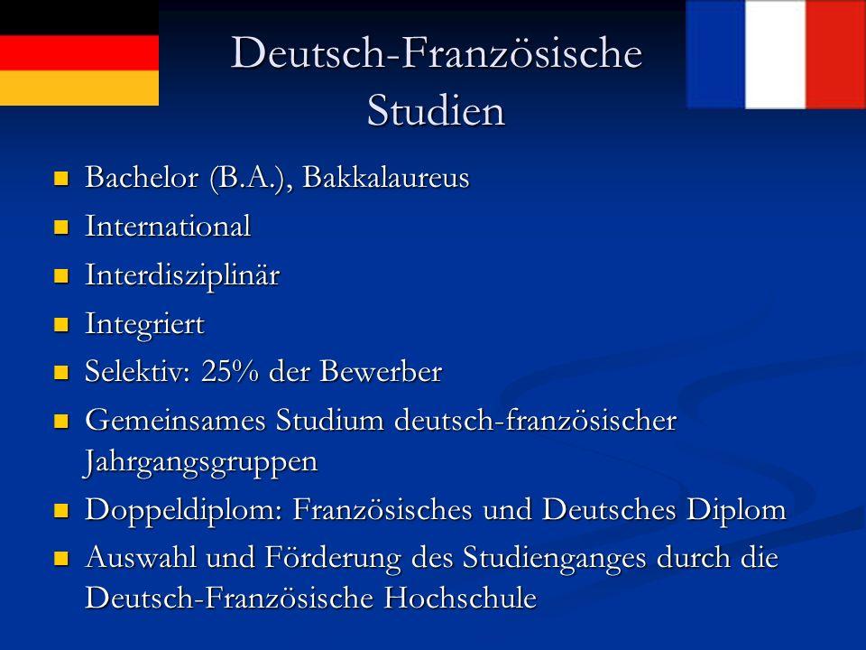 Prinzip der DFS: Interdisziplinarität Frankreich Deutschland Landes- kunde Ökono mie Jura Sprachen Literatur Interkultu- relle Kommunik ation Politikwis- senschaft Ge- schichte