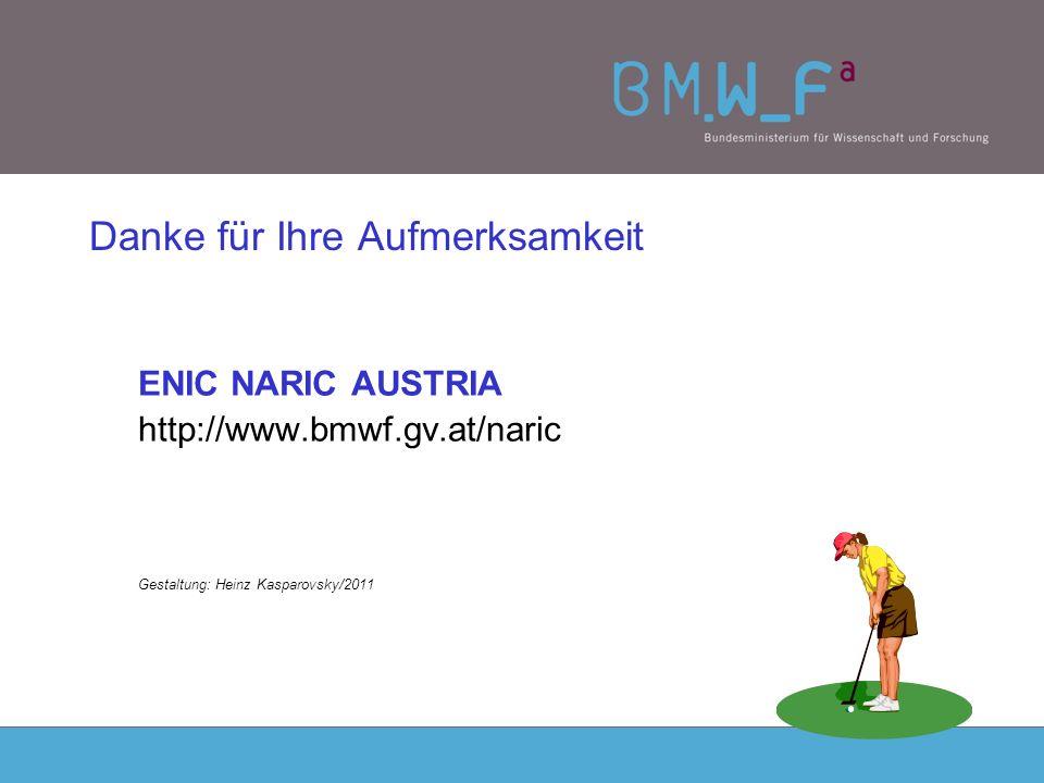 Danke für Ihre Aufmerksamkeit ENIC NARIC AUSTRIA http://www.bmwf.gv.at/naric Gestaltung: Heinz Kasparovsky/2011