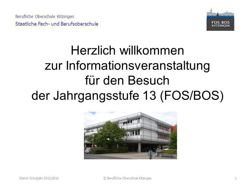 Stand: Schuljahr 2013/2014© Berufliche Oberschule Kitzingen Berufliche Oberschule Kitzingen Staatliche Fach- und Berufsoberschule 2 Zugangsvoraussetzungen Anmeldung Abschlüsse (FOS/ BOS) Studienmöglichkeiten durch die fachgebundene Hochschulreife Erwerb der 2.