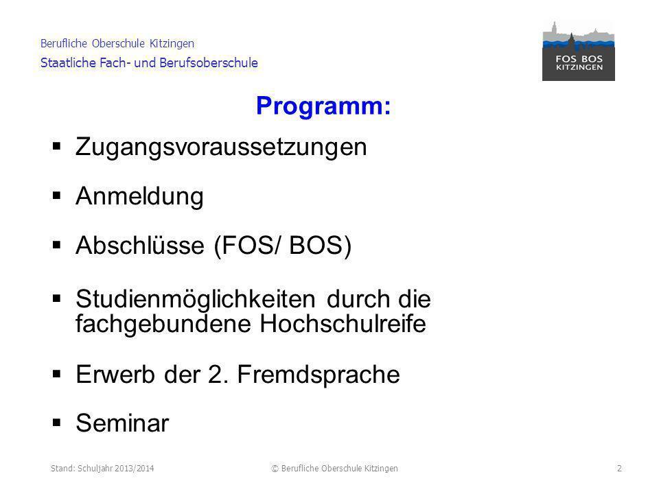 Stand: Schuljahr 2013/2014© Berufliche Oberschule Kitzingen Berufliche Oberschule Kitzingen Staatliche Fach- und Berufsoberschule 3 Schüler mit bestandenem Jahresfortgang der Jgst.