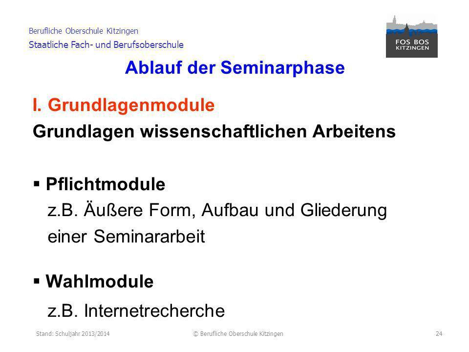Stand: Schuljahr 2013/2014© Berufliche Oberschule Kitzingen Berufliche Oberschule Kitzingen Staatliche Fach- und Berufsoberschule Ablauf der Seminarphase II.