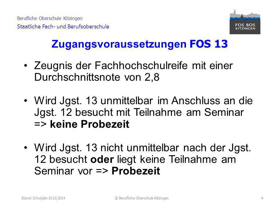 Stand: Schuljahr 2013/2014© Berufliche Oberschule Kitzingen Berufliche Oberschule Kitzingen Staatliche Fach- und Berufsoberschule 5 *Bei der Fachoberschule einschließlich der in der Jahrgangsstufe 11 abgeschlossenen Fächer.