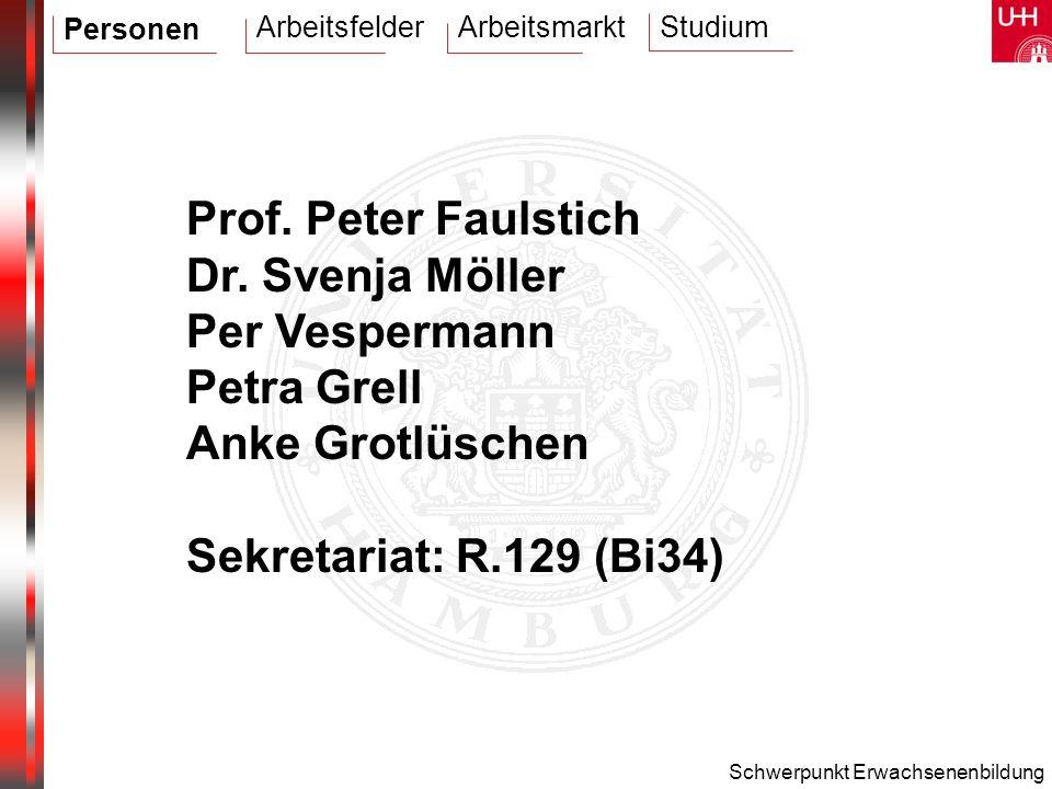 Schwerpunkt Erwachsenenbildung Prof. Peter Faulstich Dr. Svenja Möller Per Vespermann Petra Grell Anke Grotlüschen Sekretariat: R.129 (Bi34) Personen