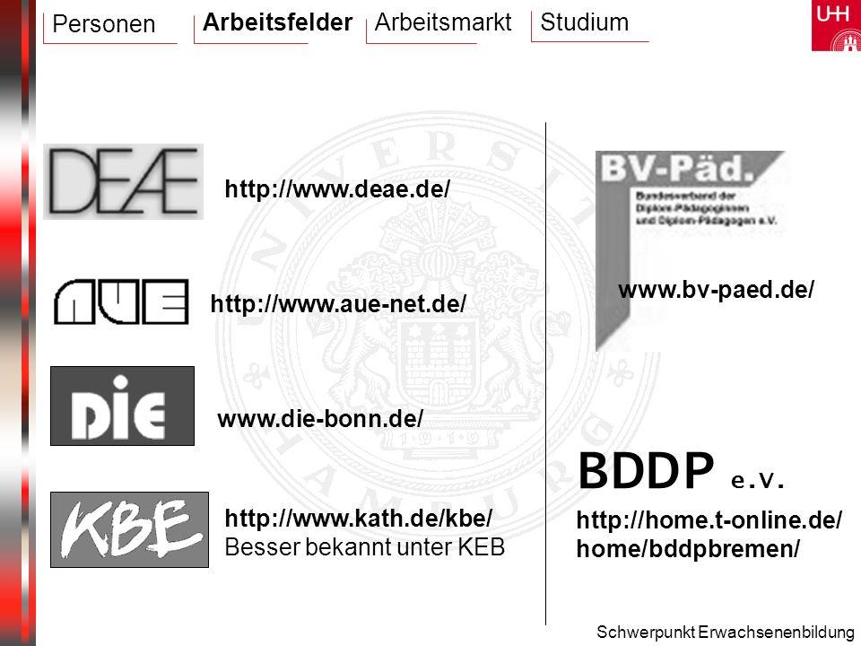 Schwerpunkt Erwachsenenbildung http://home.t-online.de/ home/bddpbremen/ BDDP e.V. www.bv-paed.de/ www.die-bonn.de/ http://www.aue-net.de/ http://www.
